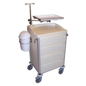 Carucior pentru reanimare cu suport pentru perfuzie si defibrilator