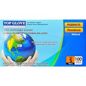 Manusi examinare latex pudrate Top Glove cutie 100 buc marimea S