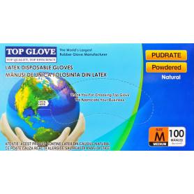 Manusi examinare latex pudrate Top Glove cutie 100 buc marimea M