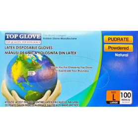 Manusi examinare latex pudrate Top Glove cutie 100 buc marimea L