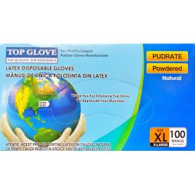 Manusi examinare latex pudrate Top Glove cutie 100 buc marimea XL