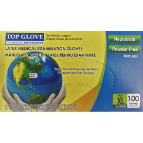 Manusi examinare latex nepudrate Top Glove cutie 100 buc marimea XL